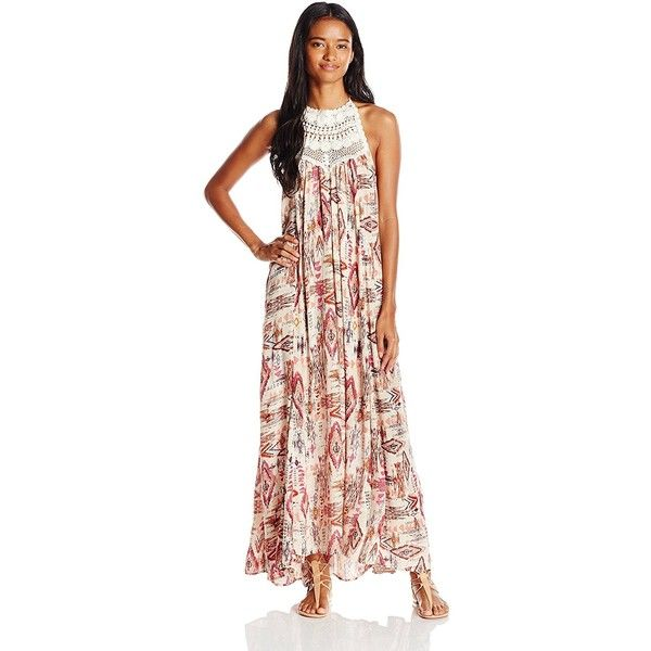 Billabong Juniors Shine on Printed Maxi Dress with Open Back ($26) ❤ liked on Polyvore featuring dresses, halter neck maxi dress, sleeveless maxi dress, crochet maxi dress, halter maxi dress and open back halter dress