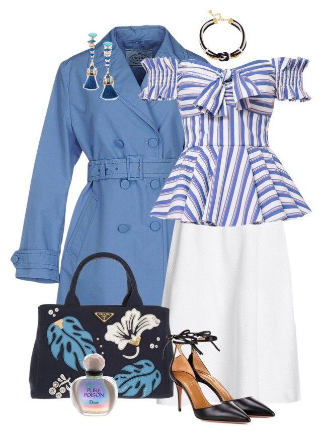 """White Skirt, Blue Raincoat, Striped Top"" by franceseattle ❤ liked on Polyvore featuring Prada, Victoria Beckham, Caroline Constas, Aquazzura, Ben-Amun, Elizabeth Cole and Christian Dior"