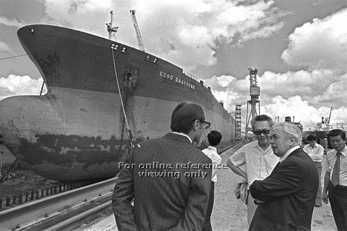 """1978 - Tanker """"ESSO GASCOGNE"""" dock next to PM LKY and former British PM Sir Harold Wilson during their visit to Sembawang Shipyard."""