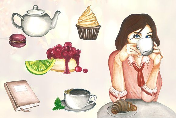 Morning Coffee Clipart - Watercolor  by CutePaperStudio on @creativemarket