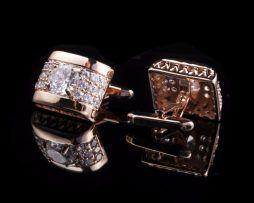 Luxusné zlaté manžetové gombíky s kryštálikmi ,