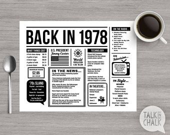 Back In 1978 PRINTABLE Placemat - 40th Birthday Decoration - 40th Birthday Table Decoration - DIY printing - DIGITAL file