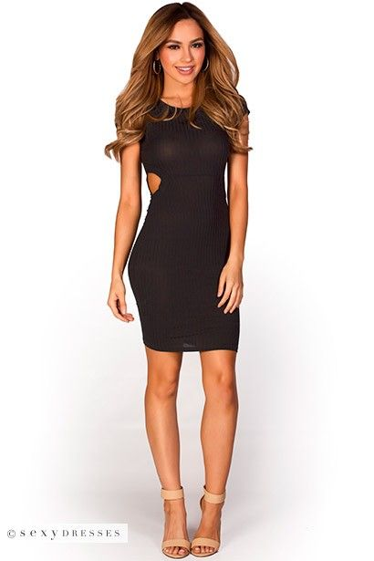Black dress with side cutouts