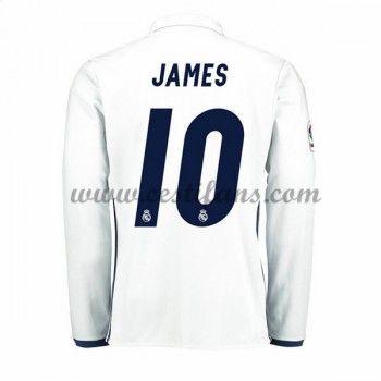 Real Madrid Fotbalové Dresy 2016-17 James 10 Domáci Dres Dlouhým Rukávem