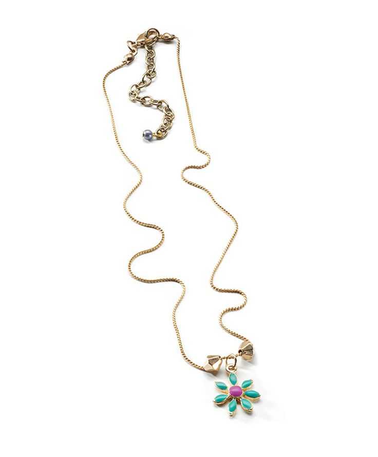 Halsband med hänge Turkos/lila, justerbart
