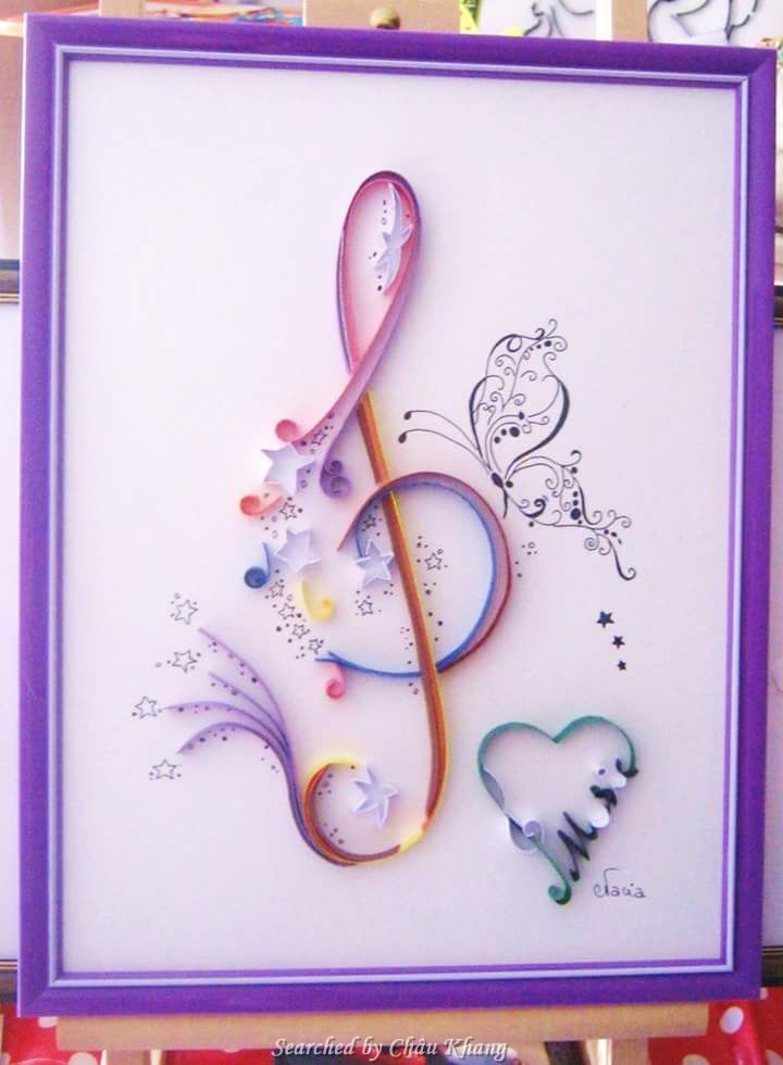 @ Evacia- Quilled treble clef pictures (Searched by Châu Khang)