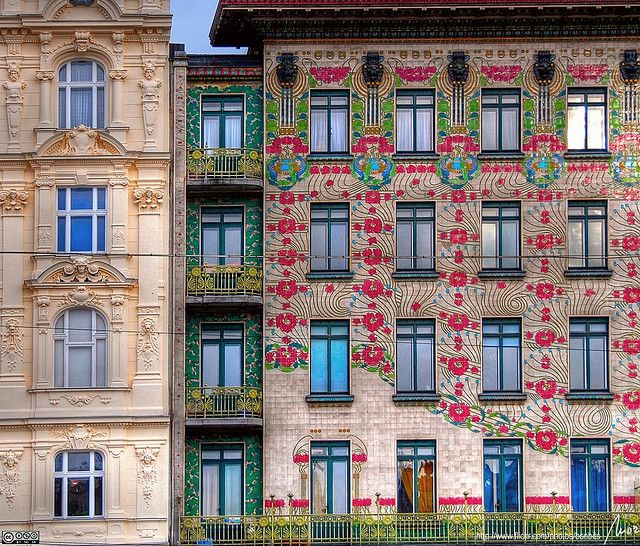 The Majolika house in Vienna by Otto Wagner. It is named after the weather-proof, painted ceramic floral designs on its façade.