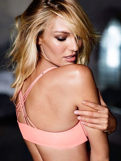 Worn by : Angel Candice Swanepoel  Type : Strappy Back Push Up Bra Color : Europhia Pink Beaded