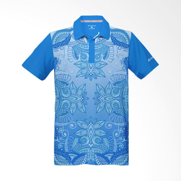 Svingolf Batik Lotus Polo Aqua Blue Baju Golf