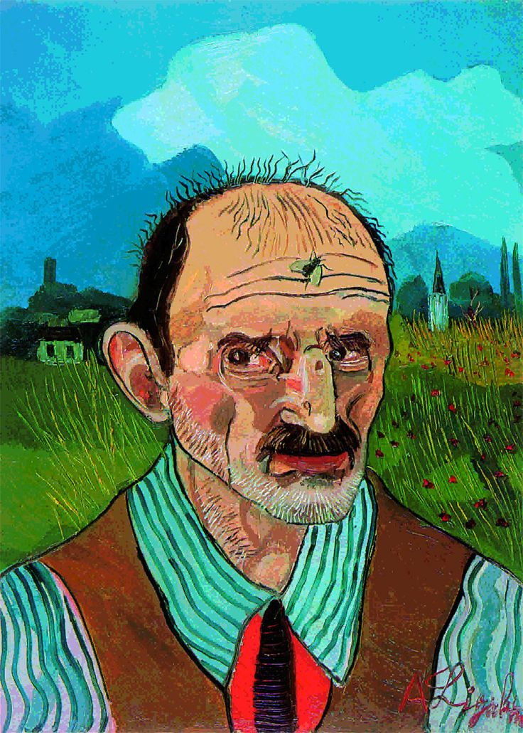 "Antonio Ligabue (1899-1965) , "" Autoritratto con mosca"" , olio suu tela , 70x50 cm"