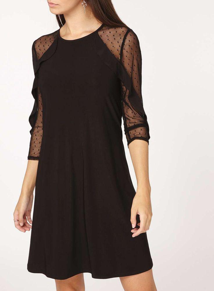 Womens **Tall Black Mesh Sleeve Ruffle Shift Dress- Black