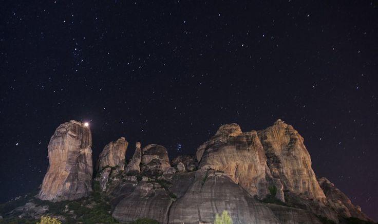Meteora night rocks sky