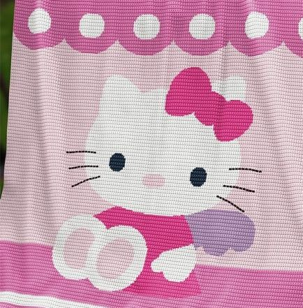 Crochet Pattern | Bed Throw - Hello Kitty - Twin size