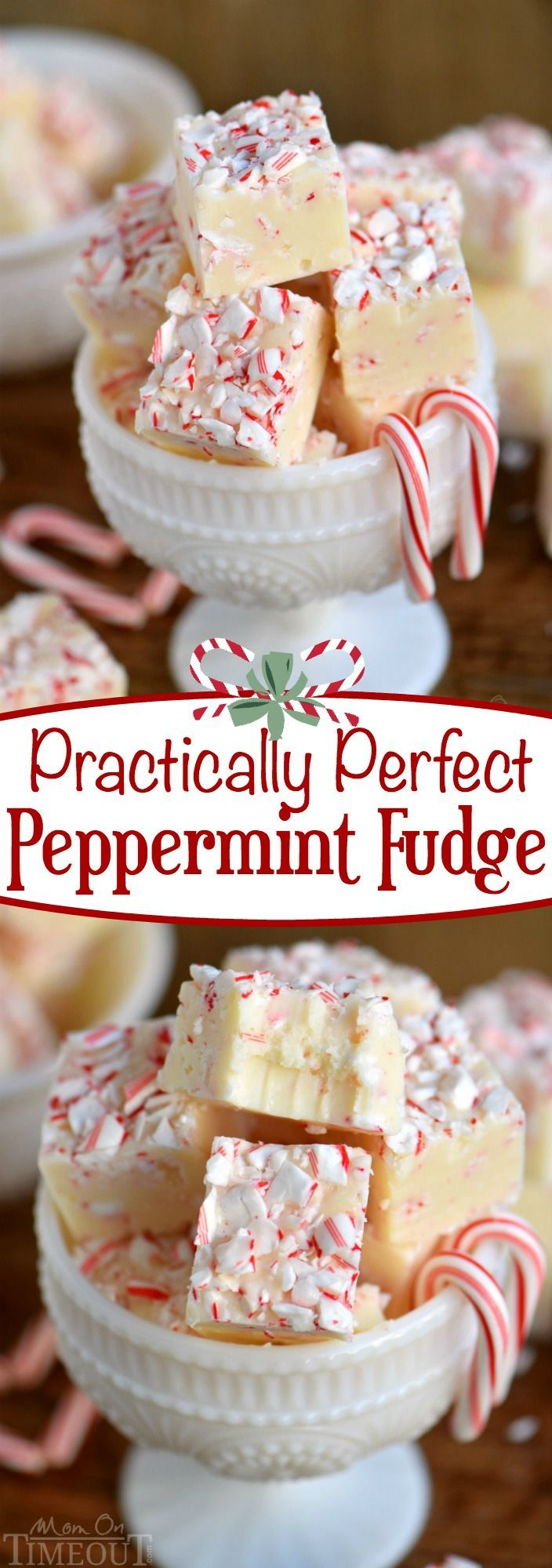 Tis the season for peppermint and sweets! You can have the best of both with this Practically Perfect Peppermint Fudge! Just a handful of ingredients and five minutes are all you need to make this pretty and festive fudge! // Mom On Timeout