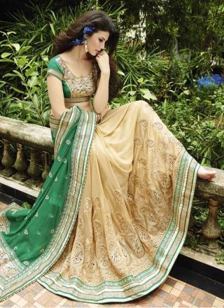 Graceful Green and Cream Embroidery work half n half saree