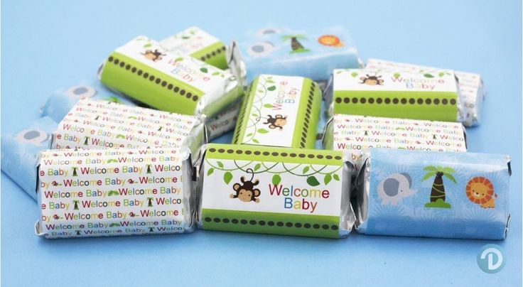 Jungle Animals Safari Baby Shower Party Favor Stickers for Hershey's Miniature Bars (Set of 54)