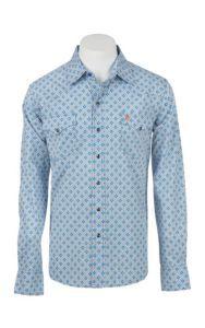 Garth Brooks Sevens by Cinch Men's Blue and Orange Print Long Sleeve Western Snap Shirt | Cavender's