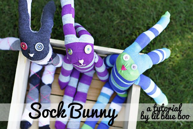 How to make a sock bunny. DIY Tutorial via lilblueboo.com