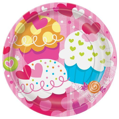 Cupcake Hearts Valentines Day Dessert Plates 8ct >>> More info could be found at the image url.