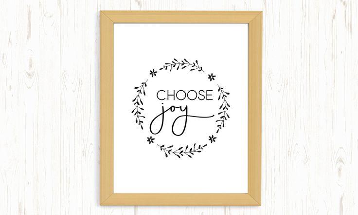 Choose Joy printable, choose Joy digital print, Joy printable, Be happy printable, happiness printable, wreath printable, typography quote by ThePrintableCorner on Etsy
