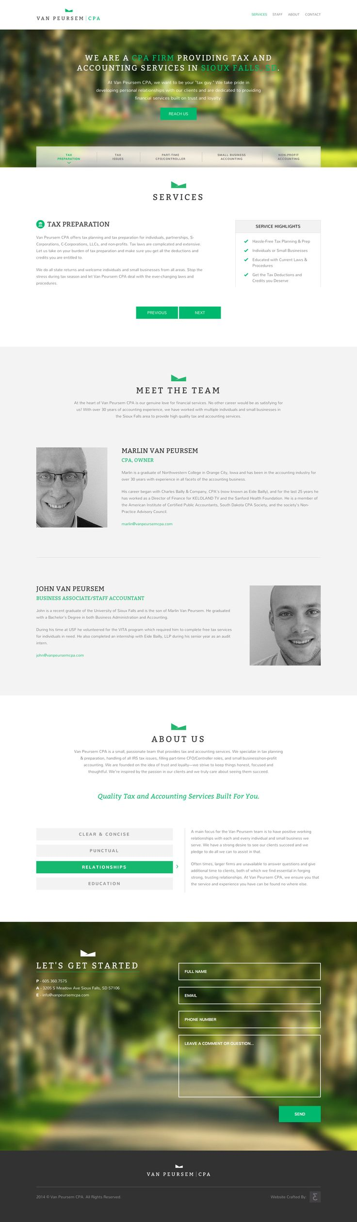 Clean responsive one pager for tax and accounting service Van Peursem CPA. Great to see more one pagers in this industry, it has all the relevant info you need and has arranged the fair amount of content well.