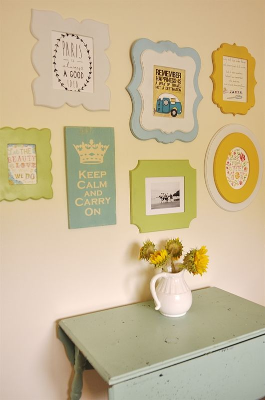 I think this idea would be very cute in children's bedrooms and playrooms. How to Make a Wall Collage with Cut It Out Frames