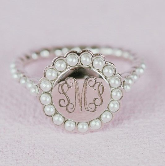 Pearl #Monogram #Ring Just In The sterling silver monogram ring is classic and beautiful.  It is perfect for everyday wear.  It comes gift boxed and is just the #present for y... #thepersonalexchange #monogram #jewerly #monogrammed #personal #personalize #personalized #ring #signet ➡️ http://jto.li/yYtrG