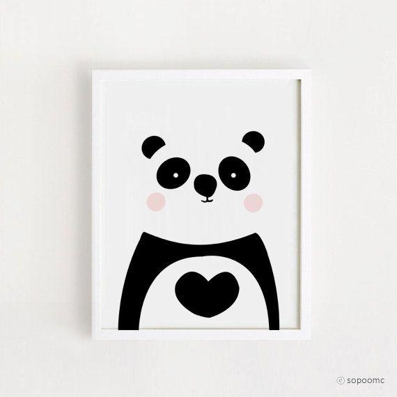 INSTANT DOWNLOAD - Panda printable Wall art Cute Panda Bear Home decor poster Kawaii baby room art Decor print nursery Digital file
