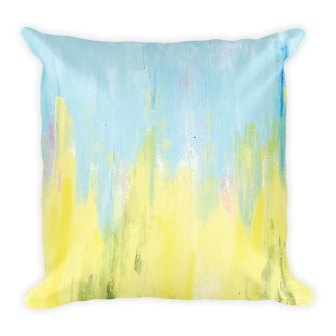 Blue and Yellow Abstract Art - Earthistik Pillow