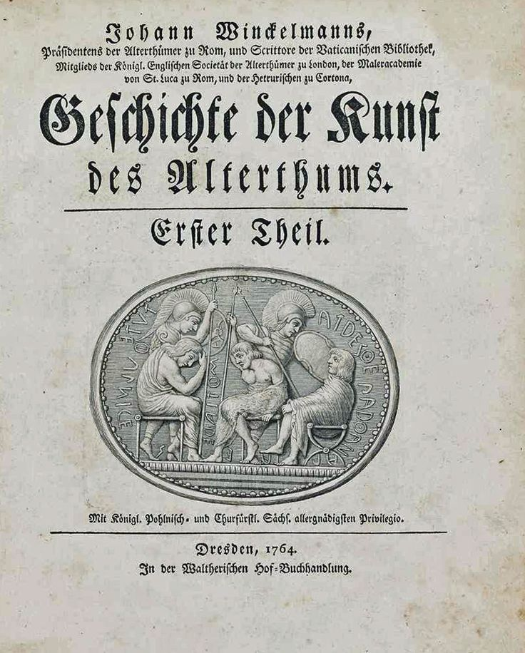 Goethe heeft voor zijn Italienische Reise een daankbaar gebruik gemaakt van het beroemde boek van Johann Winckelmann (1717-1768): Geschichte der Kunst des Altertums uit 1764