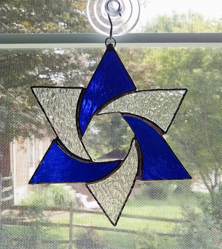 Star Of David Stained Glass And Hanukkah Decorations On