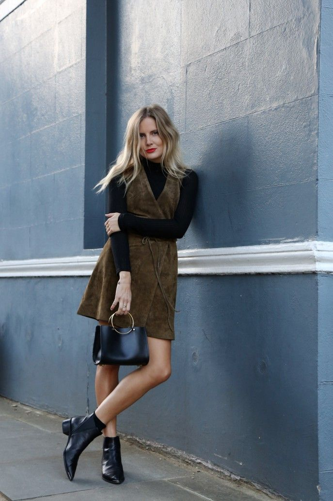 Green suede dress over black polo neck, black ankle boots & Future Glory Co. bag | @styleminimalism