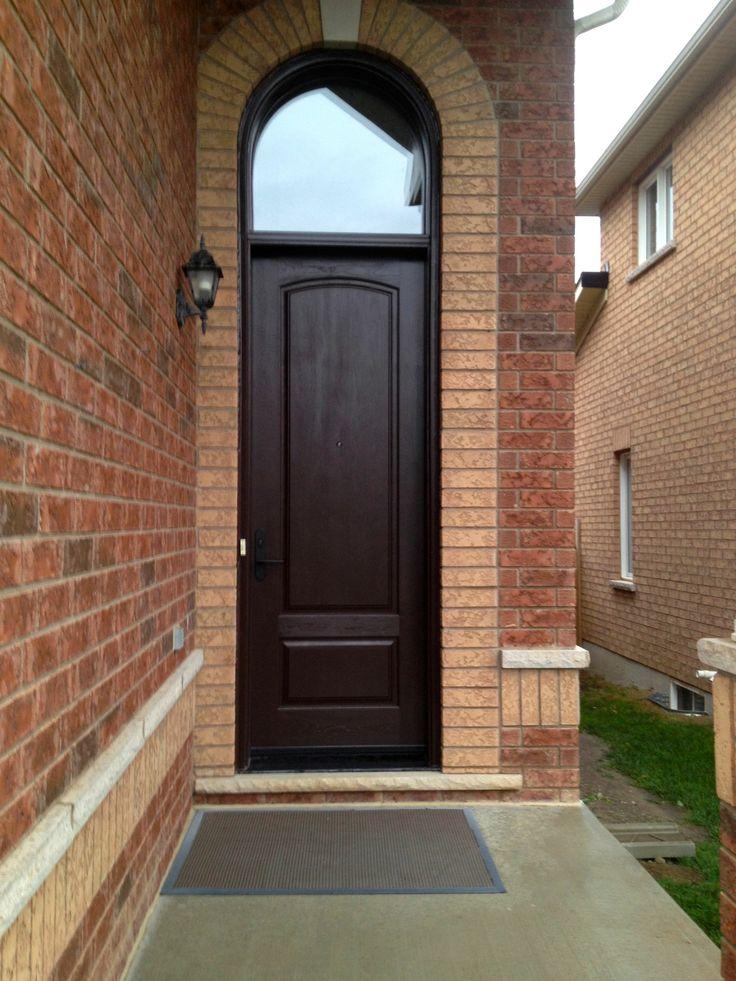 2 Panel Cambered Top Cherry Grain Fiberglass Door in dark ...