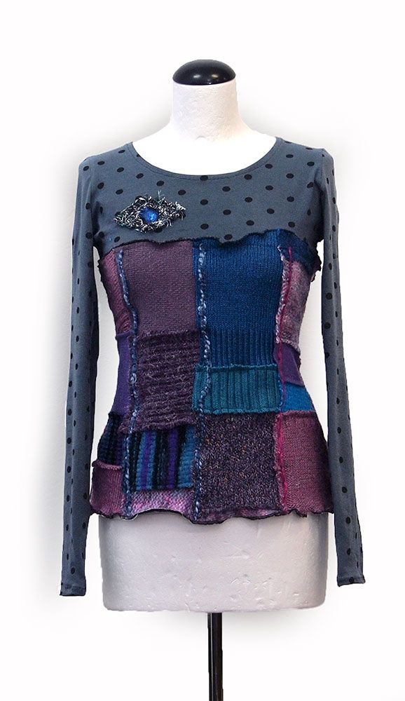 Kesidov - Matching shirt -  Cotton shirt with inserted woolen upcycled central part. Measuring about 58 cm.  63.00 €