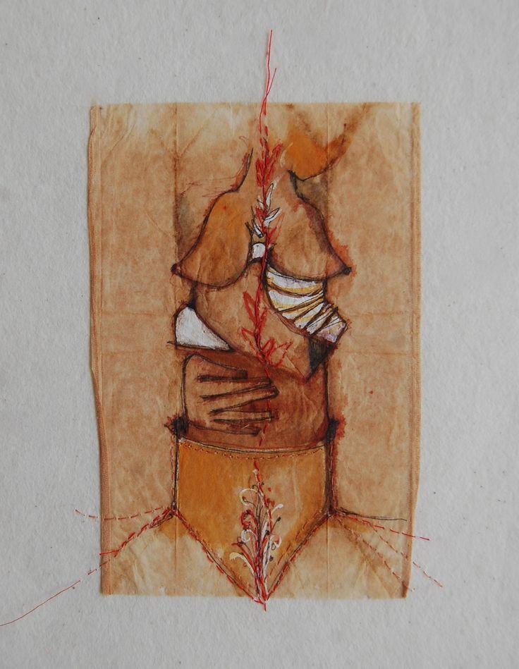 De la serie ¨una luna ¨, acuarela, tinta y bordado sobre entretela, 26 x 26 cms.  Ana Milena Gómez 2016.