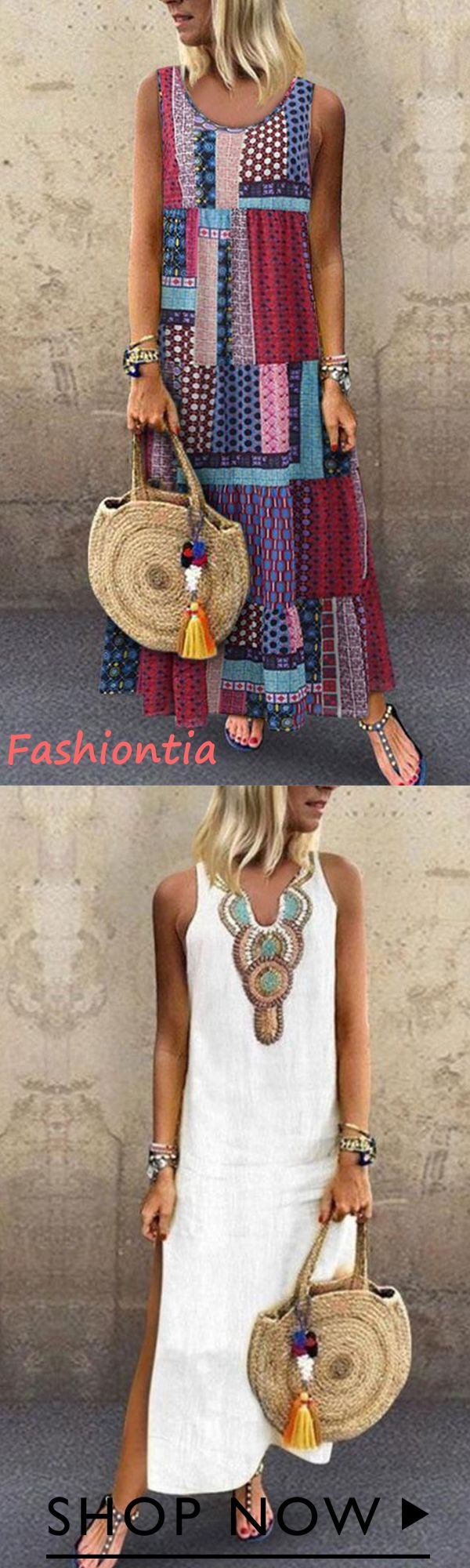 More styles you want!! Bohemian Splicing Round Nec…