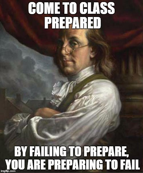 Benjamin Franklin - Class Rules - By failing to prepare, you are preparing to fail