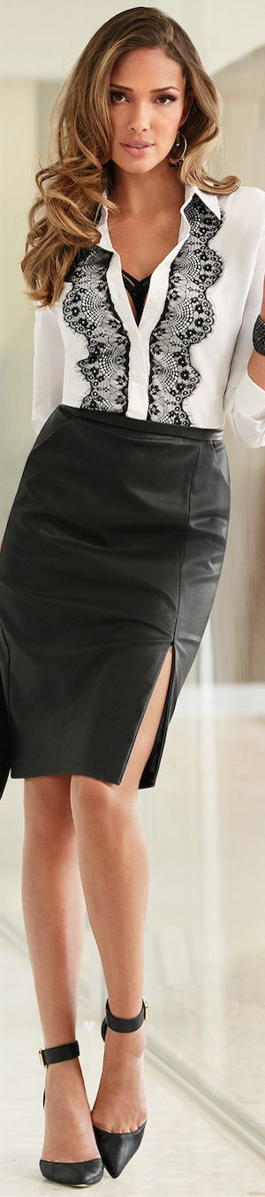 Boston Proper ● Faux Leather Pencil Skirt