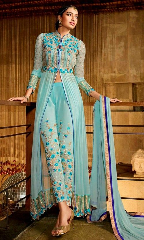 Light Blue Embroidered Wedding Party Suit