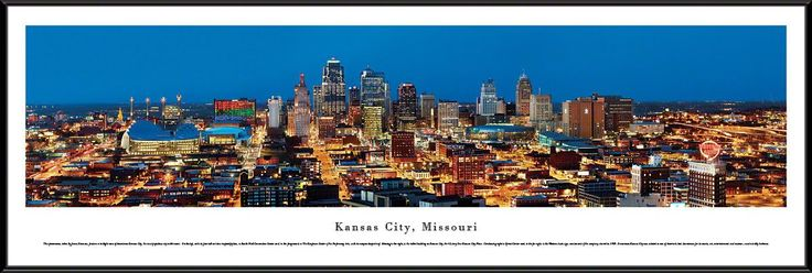 Kansas City Skyline Panoramic Picture Framed, Missouri
