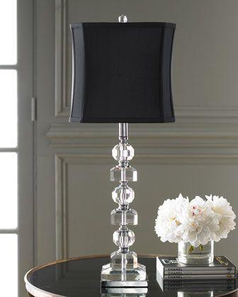 Crystal Lamp at Horchow. Black lampshade.