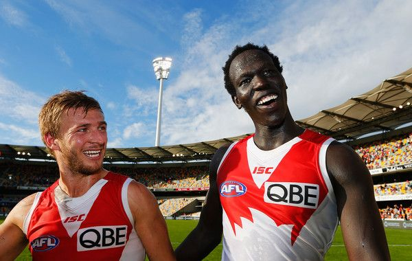Kieren Jack and Aliir Aliir celebrate during the round six AFL match between the…