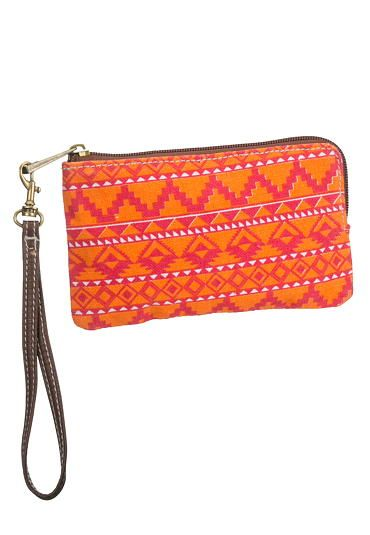 ethnic print fabric wallet or wristlet in orange #maurices