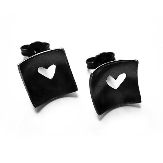 Heart Cutout Studs oxidised sterling silver