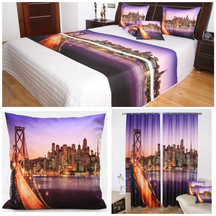 Dekoracyjne komplety sypialniane koloru fioletowego z ognistym mostem