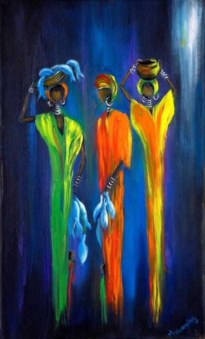 Women Selling Fish Art Print by Marietjie Henning