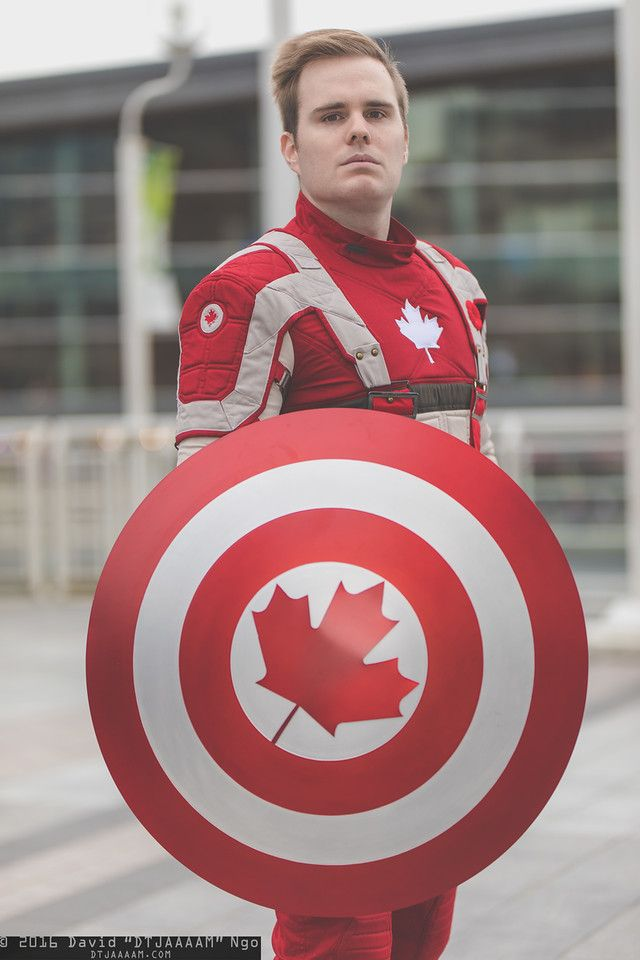Captain Canada weapons universal healthcare, cheaper drugs, better education, kills you with love... or a curling stone to the head
