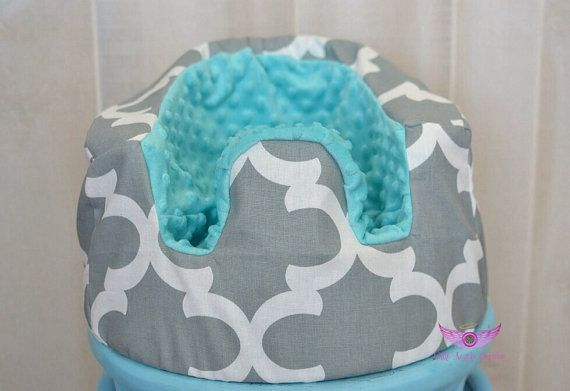 Premier Prints Grey Fynn Fabric and Turquoise/ Aqua Minky Bumbo Seat Cover