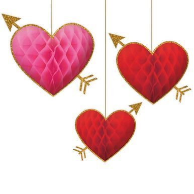 28cm Honeycomb Hanging Hearts