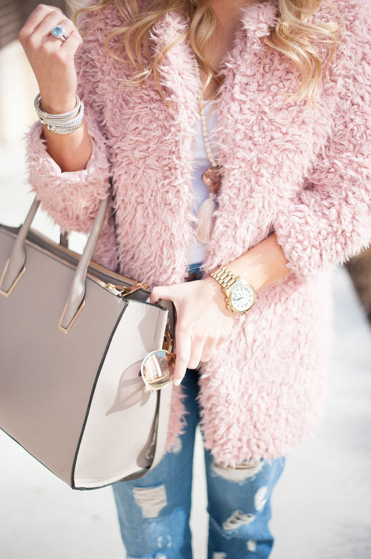 Fuzzy Blush Coat